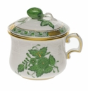Herend Chinese Bouquet Green Pot De Creme With Berry  (3 Oz) -