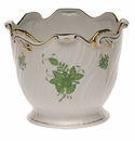 """Herend Chinese Bouquet Green Ribbed Cachepot  6.25""""H X 7""""D"""