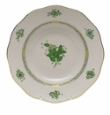 """Herend Chinese Bouquet Green Rim Soup Plate  8""""D"""