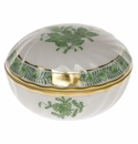 """Herend Chinese Bouquet Green Ring Box  2.75""""D"""