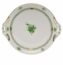 """Herend Chinese Bouquet Green Round Tray With Handles  11.25""""D"""