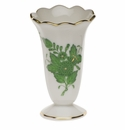 """Herend Chinese Bouquet Green Scalloped Bud Vase  2.5""""H"""