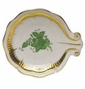 """Herend Chinese Bouquet Green Shell Dish  4""""D"""