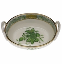 """Herend Chinese Bouquet Green Small Basket With Handles 2.75""""L"""