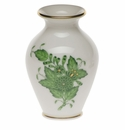 """Herend Chinese Bouquet Green Small Bud Vase With Lip 2.5""""H"""
