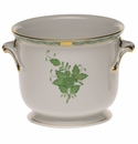 """Herend Chinese Bouquet Green Small Cachepot 5.75""""H X 6.5""""D"""