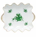 """Herend Chinese Bouquet Green Small Dish With Pearls 5.75""""L X 6"""