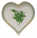 """Herend Chinese Bouquet Green Small Heart Tray  4""""L X 4""""W"""