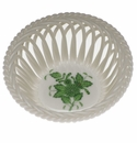 """Herend Chinese Bouquet Green Small Openwork Basket 3.75""""D -"""