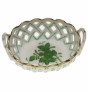 Herend Chinese Bouquet Green Small Openwork Basket With Handles 3