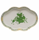 """Herend Chinese Bouquet Green Small Scalloped Tray  5.5""""L"""