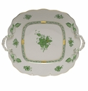 Herend Chinese Bouquet Green Square Cake Plate With Handles  9