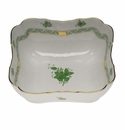 """Herend Chinese Bouquet Green Square Salad Bowl  10""""Sq"""