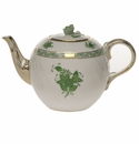 """Herend Chinese Bouquet Green Tea Pot With Rose  (36 Oz) 5.5""""H"""