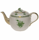 """Herend Chinese Bouquet Green Tea Pot With Rose  (60 Oz) 6.5""""H"""
