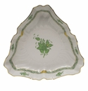 """Herend Chinese Bouquet Green Triangle Dish  9.5""""L"""