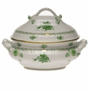 """Herend Chinese Bouquet Green Tureen With Branch  (4 Qt) 10""""H"""
