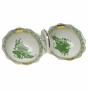 """Herend Chinese Bouquet Green Twin Salt  5.5""""L"""