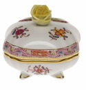 """Herend Chinese Bouquet Multicolor Covered Bonbon With Rose  3""""Sq"""