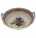 """Herend Chinese Bouquet Multicolor Small Basket With Handles 2.75""""L"""