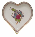"""Herend Chinese Bouquet Multicolor Small Heart Tray  4""""L X 4""""W"""