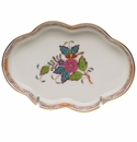 """Herend Chinese Bouquet Multicolor Small Scalloped Tray  5.5""""L"""