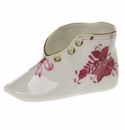 """Herend Chinese Bouquet Raspberry Baby Shoe  4.5""""L X 2.75""""H"""