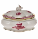 """Herend Chinese Bouquet Raspberry Covered Bonbon With Bunny  5""""L X 4""""H"""