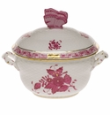 """Herend Chinese Bouquet Raspberry Covered Bonbon With Butterfly  4.25""""H"""