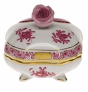 """Herend Chinese Bouquet Raspberry Covered Bonbon With Rose  3""""Sq"""