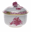 """Herend Chinese Bouquet Raspberry Covered Sugar With Rose  (4 Oz) 3.25"""""""