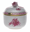 """Herend Chinese Bouquet Raspberry Covered Sugar With Rose  (6 Oz) 4""""H"""