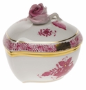 """Herend Chinese Bouquet Raspberry Heart Bonbon With Rose  3""""L X 2""""H"""