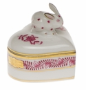 """Herend Chinese Bouquet Raspberry Heart Box With Bunny 2""""H"""