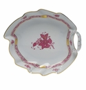 """Herend Chinese Bouquet Raspberry Leaf Dish  7.75""""L"""
