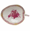 """Herend Chinese Bouquet Raspberry Leaf Tray  4.5""""L X 3""""W"""