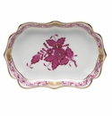 """Herend Chinese Bouquet Raspberry Mini Scalloped Tray 4.25""""L X 3"""