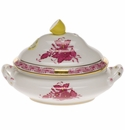 """Herend Chinese Bouquet Raspberry Mini Tureen 5""""L X 4""""H With Lemon"""