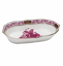 """Herend Chinese Bouquet Raspberry Narrow Pin Dish 5""""L X 1""""H"""