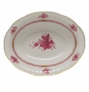 """Herend Chinese Bouquet Raspberry Oval Vegetable Dish  10""""L X 8""""W"""