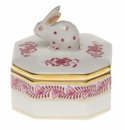 Herend Chinese Bouquet Raspberry Petite Octagonal Box