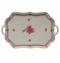 """Herend Chinese Bouquet Raspberry Rectangular Tray With Branch Handles  18"""""""