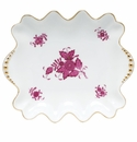 """Herend Chinese Bouquet Raspberry Small Dish With Pearls 5.75""""L X 6"""