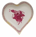 """Herend Chinese Bouquet Raspberry Small Heart Tray  4""""L X 4""""W"""