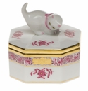 """Herend Chinese Bouquet Raspberry Small Octagonal Box - Cat 2.5"""""""