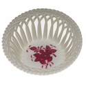 """Herend Chinese Bouquet Raspberry Small Openwork Basket 3.75""""D"""