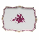 """Herend Chinese Bouquet Raspberry Small Tray 7.5""""L X 5.5""""W"""