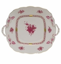 Herend Chinese Bouquet Raspberry Square Cake Plate With Handles  9