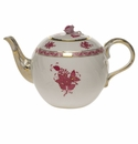 """Herend Chinese Bouquet Raspberry Tea Pot With Rose  (36 Oz) 5.5""""H"""