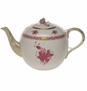 """Herend Chinese Bouquet Raspberry Tea Pot With Rose  (60 Oz) 6.5""""H"""
